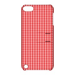 Small Snow White And Christmas Red Gingham Check Plaid Apple Ipod Touch 5 Hardshell Case With Stand by PodArtist