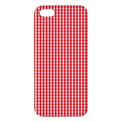 Small Snow White And Christmas Red Gingham Check Plaid Apple Iphone 5 Premium Hardshell Case by PodArtist