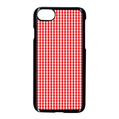 Small Snow White And Christmas Red Gingham Check Plaid Apple Iphone 8 Seamless Case (black) by PodArtist