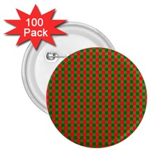 Large Red And Green Christmas Gingham Check Tartan Plaid 2 25  Buttons (100 Pack)  by PodArtist