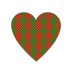 Large Red And Green Christmas Gingham Check Tartan Plaid Heart Magnet by PodArtist