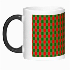 Large Red And Green Christmas Gingham Check Tartan Plaid Morph Mugs by PodArtist
