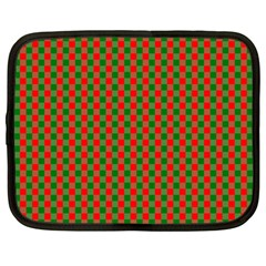 Large Red And Green Christmas Gingham Check Tartan Plaid Netbook Case (large) by PodArtist