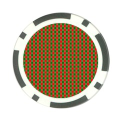 Large Red And Green Christmas Gingham Check Tartan Plaid Poker Chip Card Guard (10 Pack) by PodArtist