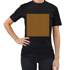Large Red And Green Christmas Gingham Check Tartan Plaid Women s T Shirt (black) by PodArtist