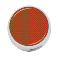 Large Red And Green Christmas Gingham Check Tartan Plaid 4 Port Usb Hub (one Side) by PodArtist