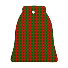 Large Red And Green Christmas Gingham Check Tartan Plaid Ornament (bell) by PodArtist