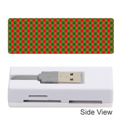 Large Red And Green Christmas Gingham Check Tartan Plaid Memory Card Reader (stick)  by PodArtist