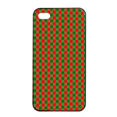 Large Red And Green Christmas Gingham Check Tartan Plaid Apple Iphone 4/4s Seamless Case (black) by PodArtist