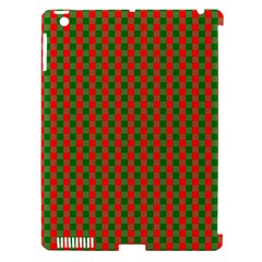 Large Red And Green Christmas Gingham Check Tartan Plaid Apple Ipad 3/4 Hardshell Case (compatible With Smart Cover) by PodArtist