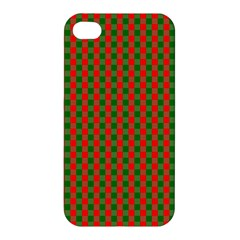 Large Red And Green Christmas Gingham Check Tartan Plaid Apple Iphone 4/4s Premium Hardshell Case by PodArtist