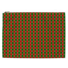 Large Red And Green Christmas Gingham Check Tartan Plaid Cosmetic Bag (xxl)  by PodArtist