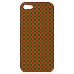 Large Red And Green Christmas Gingham Check Tartan Plaid Apple Iphone 5 Hardshell Case by PodArtist
