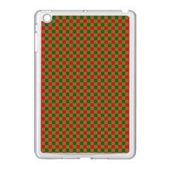 Large Red And Green Christmas Gingham Check Tartan Plaid Apple Ipad Mini Case (white) by PodArtist