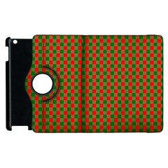 Large Red And Green Christmas Gingham Check Tartan Plaid Apple Ipad 3/4 Flip 360 Case by PodArtist
