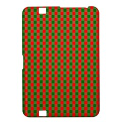 Large Red And Green Christmas Gingham Check Tartan Plaid Kindle Fire Hd 8 9  by PodArtist
