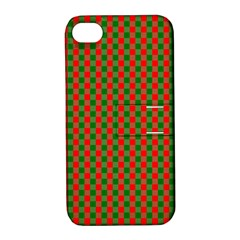 Large Red And Green Christmas Gingham Check Tartan Plaid Apple Iphone 4/4s Hardshell Case With Stand by PodArtist