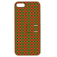 Large Red And Green Christmas Gingham Check Tartan Plaid Apple Iphone 5 Hardshell Case With Stand by PodArtist