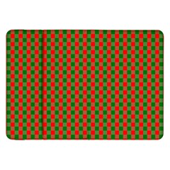 Large Red And Green Christmas Gingham Check Tartan Plaid Samsung Galaxy Tab 8 9  P7300 Flip Case by PodArtist