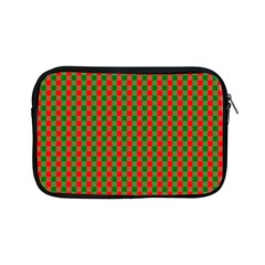 Large Red And Green Christmas Gingham Check Tartan Plaid Apple Ipad Mini Zipper Cases by PodArtist