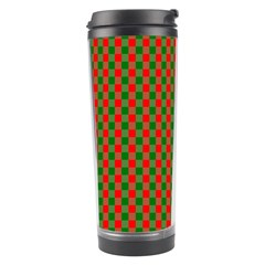 Large Red And Green Christmas Gingham Check Tartan Plaid Travel Tumbler by PodArtist