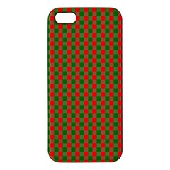 Large Red And Green Christmas Gingham Check Tartan Plaid Iphone 5s/ Se Premium Hardshell Case by PodArtist