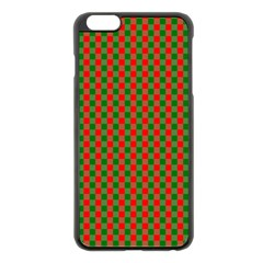 Large Red And Green Christmas Gingham Check Tartan Plaid Apple Iphone 6 Plus/6s Plus Black Enamel Case by PodArtist