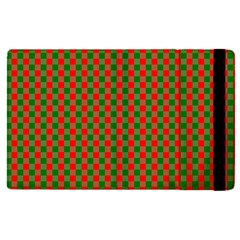Large Red And Green Christmas Gingham Check Tartan Plaid Apple Ipad Pro 12 9   Flip Case by PodArtist
