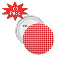 Large Christmas Red And White Gingham Check Plaid 1 75  Buttons (100 Pack)  by PodArtist