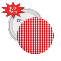Large Christmas Red And White Gingham Check Plaid 2 25  Buttons (100 Pack)  by PodArtist