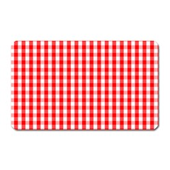 Large Christmas Red And White Gingham Check Plaid Magnet (rectangular) by PodArtist