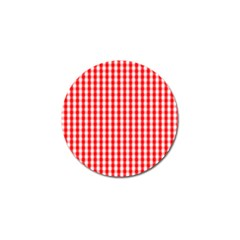 Large Christmas Red And White Gingham Check Plaid Golf Ball Marker (10 Pack) by PodArtist