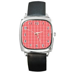 Large Christmas Red And White Gingham Check Plaid Square Metal Watch by PodArtist