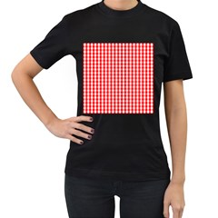 Large Christmas Red And White Gingham Check Plaid Women s T Shirt (black) (two Sided) by PodArtist