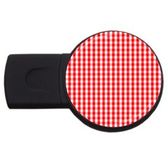 Large Christmas Red And White Gingham Check Plaid Usb Flash Drive Round (4 Gb)