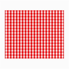 Large Christmas Red And White Gingham Check Plaid Small Glasses Cloth (2 Side) by PodArtist