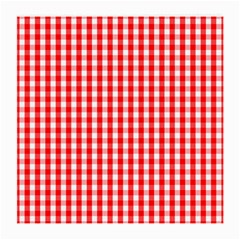 Large Christmas Red And White Gingham Check Plaid Medium Glasses Cloth (2 Side) by PodArtist