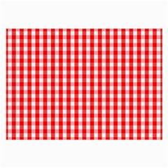 Large Christmas Red And White Gingham Check Plaid Large Glasses Cloth (2 Side) by PodArtist