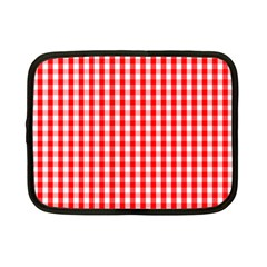 Large Christmas Red And White Gingham Check Plaid Netbook Case (small)  by PodArtist
