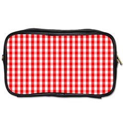 Large Christmas Red And White Gingham Check Plaid Toiletries Bags by PodArtist