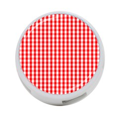 Large Christmas Red And White Gingham Check Plaid 4 Port Usb Hub (one Side) by PodArtist