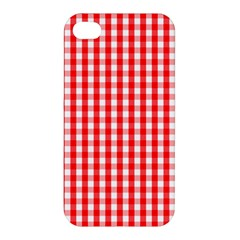 Large Christmas Red And White Gingham Check Plaid Apple Iphone 4/4s Premium Hardshell Case by PodArtist