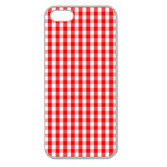 Large Christmas Red And White Gingham Check Plaid Apple Seamless Iphone 5 Case (clear) by PodArtist
