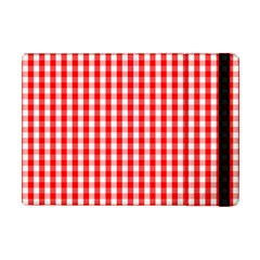 Large Christmas Red And White Gingham Check Plaid Apple Ipad Mini Flip Case by PodArtist
