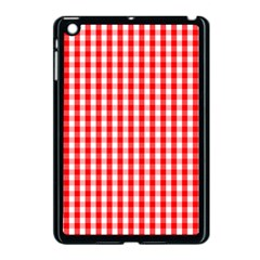 Large Christmas Red And White Gingham Check Plaid Apple Ipad Mini Case (black) by PodArtist