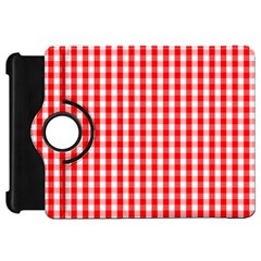 Large Christmas Red And White Gingham Check Plaid Kindle Fire Hd 7  by PodArtist