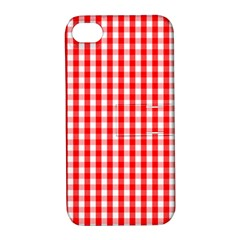 Large Christmas Red And White Gingham Check Plaid Apple Iphone 4/4s Hardshell Case With Stand by PodArtist