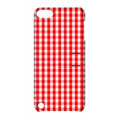Large Christmas Red And White Gingham Check Plaid Apple Ipod Touch 5 Hardshell Case With Stand by PodArtist