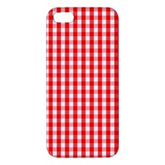 Large Christmas Red And White Gingham Check Plaid Iphone 5s/ Se Premium Hardshell Case by PodArtist