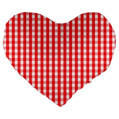 Large Christmas Red And White Gingham Check Plaid Large 19  Premium Flano Heart Shape Cushions by PodArtist
